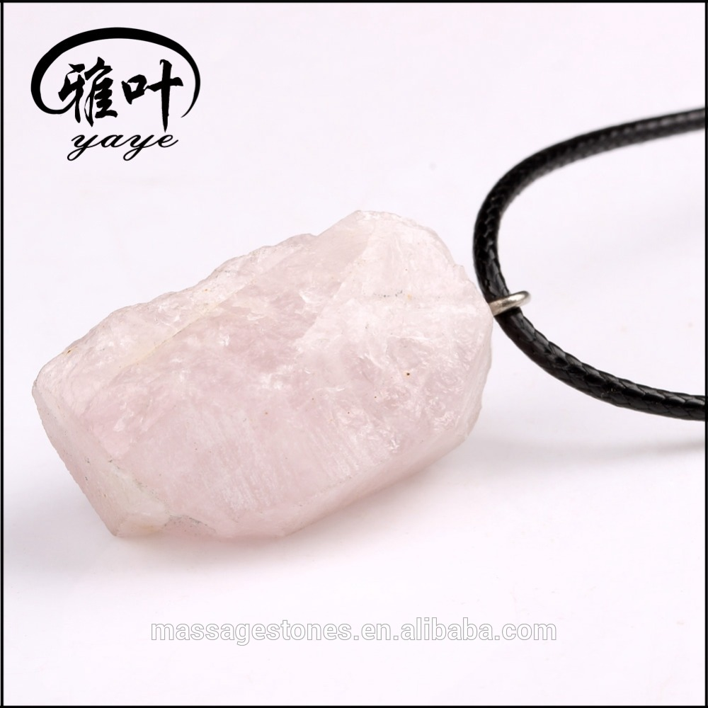 Natural Gemstones Rose Quartz Rough Stones Pendants Wholesale